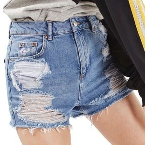 TOPSHOP | Ripped High Rise Mom Shorts size 6
